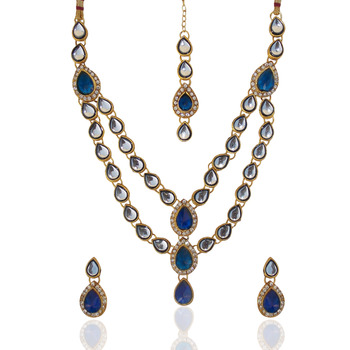 Ethnic Indian Jewelry Bridal Deep Blue Victorian Kundan Like Necklace Set b161b