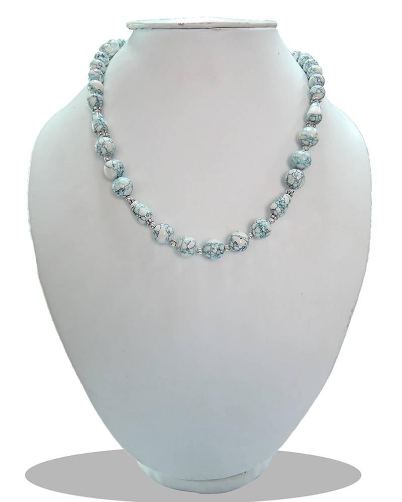 "Kanjivaram Beads: Sky-blue Color Mosaic Beads 18"" Bold Necklace"