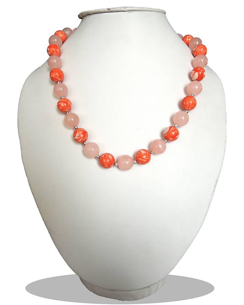 "Kanjivaram Beads: Bio-Color Mosaic And ,Dyed Quartzite Beads 18"" Bold"