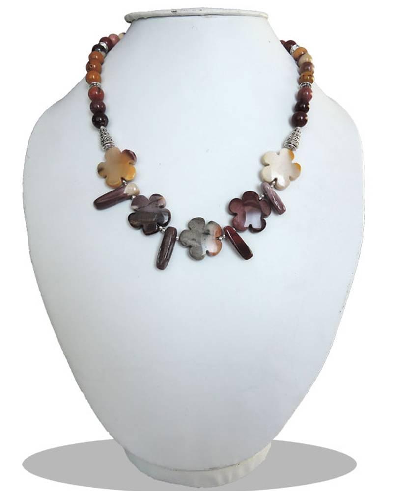 "Kanjivaram Beads: Mookaite 18"" Beads Necklace"