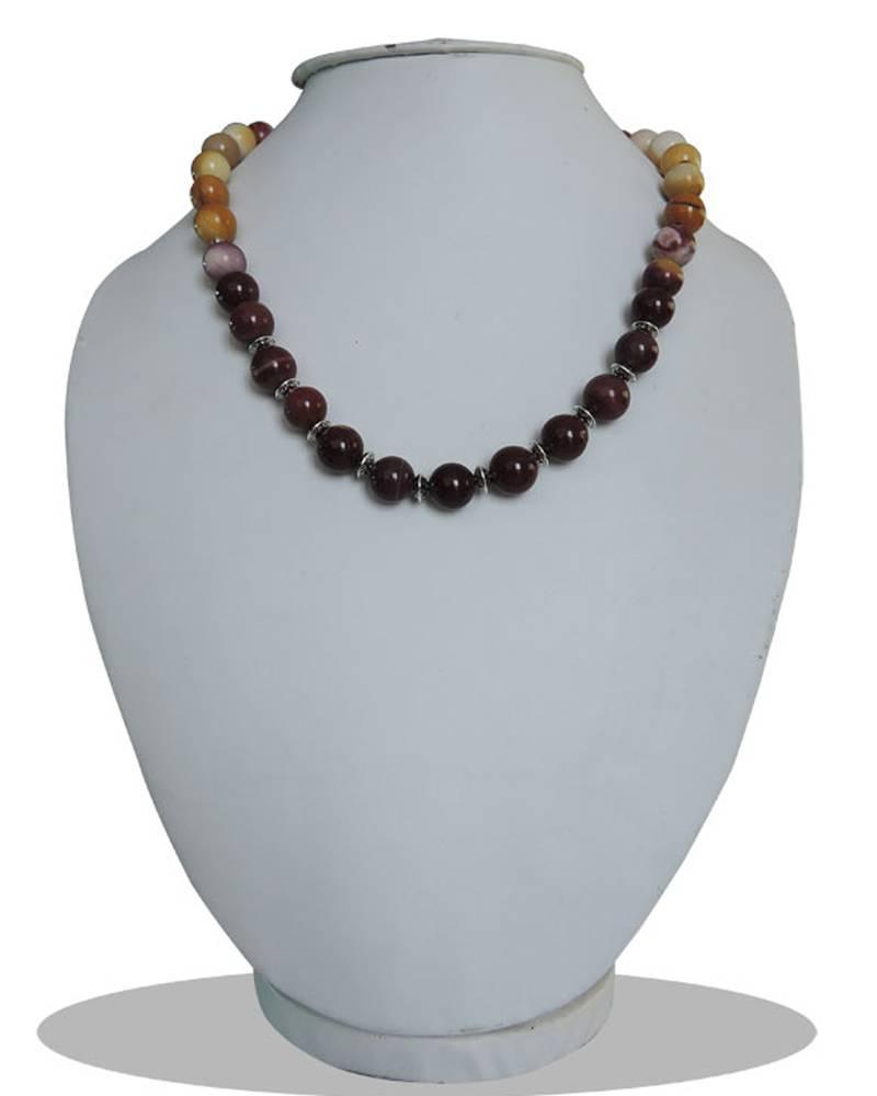 "Kanjivaram Beads: MOOKAITE GEMSTONE 18"" Beads Necklace"
