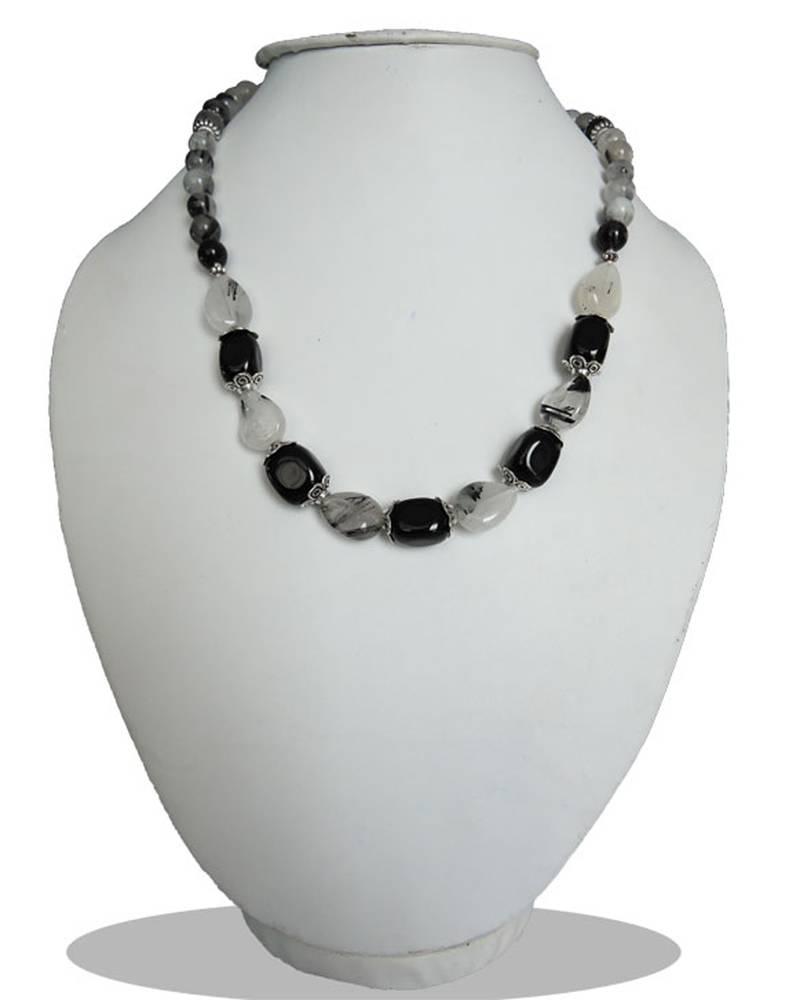 "Kanjivaram Beads: Black Agate And Black Rutilaited 18"" Beads Necklace"