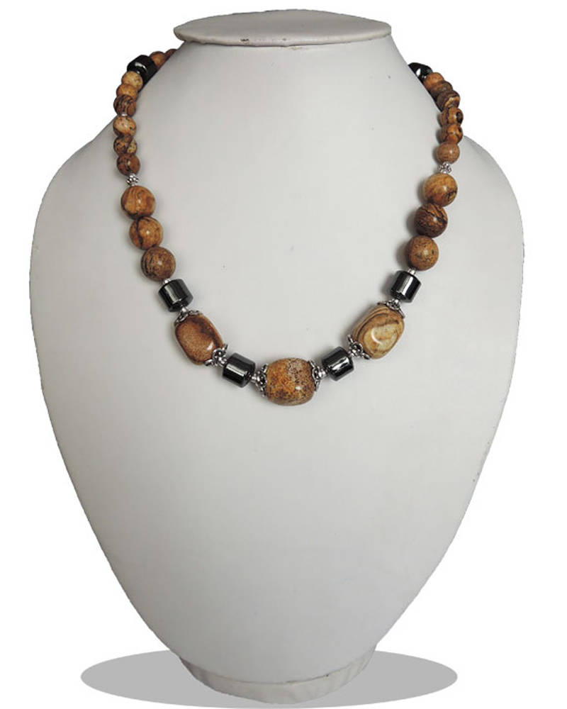 """Kanjivaram Beads: Picture Jasper And Hematite 18"""" Beads Necklace"""