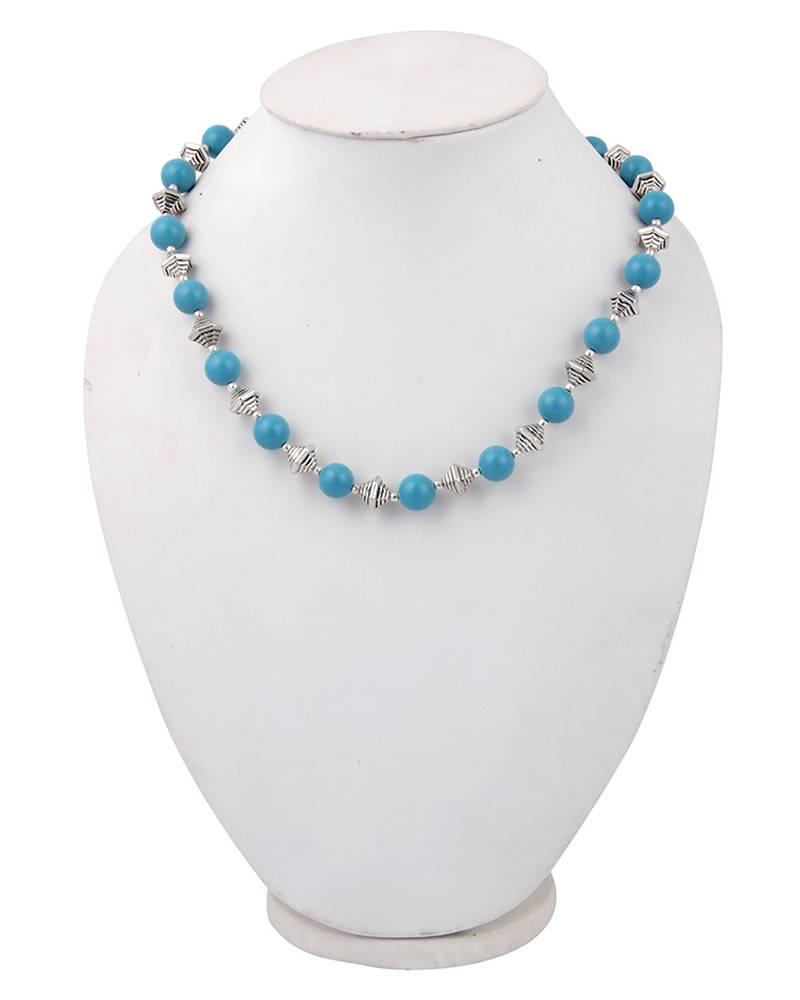 Kanjivaram Beads: Blue Eyed Mosaic Beads 18 Inches Necklace