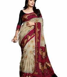 Buy Cream embroidered cotton saree with blouse cotton-saree online