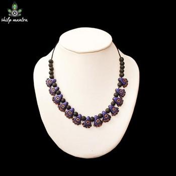 Shilpmantra's Ecofriendly Fashion Terracotta Necklace Purple