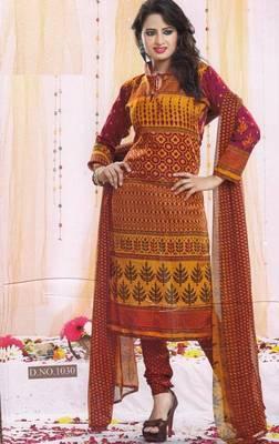 Dress Material Poly Cotton Unstitched Elegant Salwar Kameez Suit D.No B1030