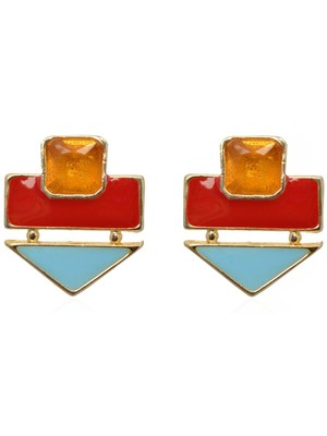 Crunchy Fashion Color Rush Red Beachy Earrings-Cfe0532