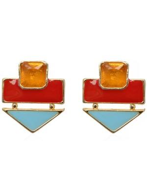Crunchy Fashion Color Rush Red Beachy Earrings-CFE0532