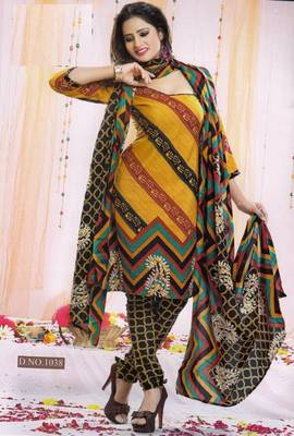 Dress Material Poly Cotton Unstitched Elegant Salwar Kameez Suit D.No B1038