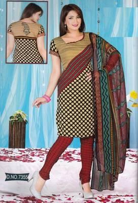 Dress Material Crepe Unstitched Elegant Salwar Kameez Suit D.No 7355