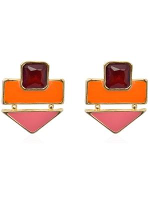 Crunchy Fashion Color Rush Orange Blush Earrings-Cfe0529