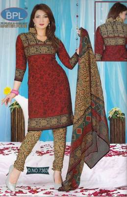 Dress Material Crepe Unstitched Elegant Salwar Kameez Suit D.No 7363