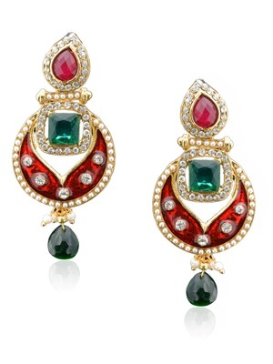 Regal Scarlet Enamel Earring -RAE0014