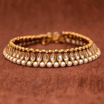 Anvi's Beautiful Anklets Studded with White Kundhan, Antique Beads and Pearls