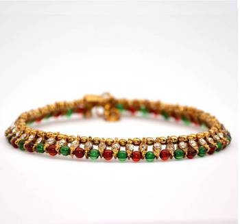 Anvi's Beautiful Anklets with Green, Red, Antique Beads and White Stones