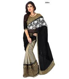 Buy black and golden hand woven art silk saree with blouse bhagalpuri-silk-saree online