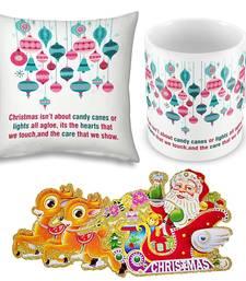 Buy Fancy Print White Cushion n Coffee Mug Pair christmas-gift online