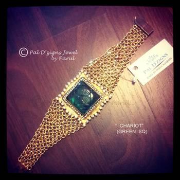 Chariot- Green Square Bracelet