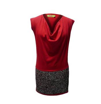Red Top Dress Embellished With Sequin Work