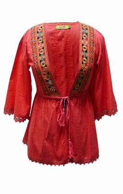 Traditional kutch embroidery open top in Red