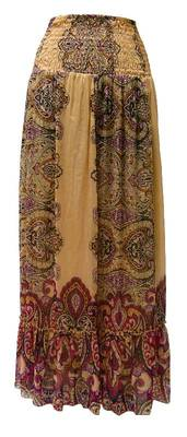 Gold and Rust Red bandhani print skirt