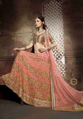 Designer Pink Embroidered Lehenga Choli