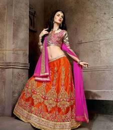 Buy Designer Orange Embroidered Lehenga Choli lehenga-choli online