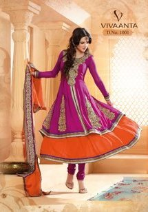 DEEP PASTEL PINK & ORANGE GHAGRA  ANARKALI SUIT