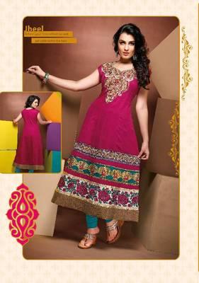 ISHIN Cotton Pink kurti Jheel_XL