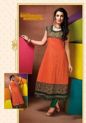 ISHIN Cotton Orange kurti Kavya_XL