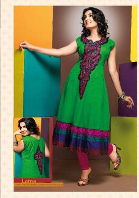 ISHIN Cotton Green kurti Lama_M