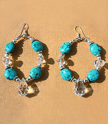 Turquoise and Glass Hoops.