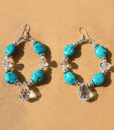 Buy Turquoise and Glass Hoops. thanksgiving-gift online