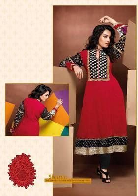 ISHIN Cotton Red kurti Simran_XL
