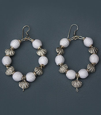 White and Silver Shell Hoops.