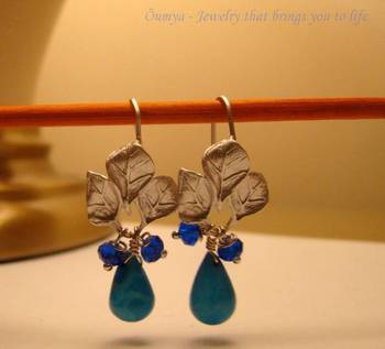 Tri-leaf Blue Turquoise Earrings