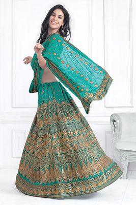 Hypnotex Cotton Light Blue Color Designer Lengha Choli XLNC8008A