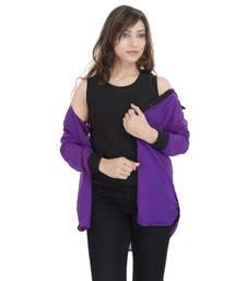 Buy Purple Chiffon Women Shirt with Black Inner girls-jackets-coat online