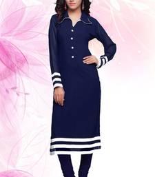Buy Navy Blue Faux Georgette plain kurti plus-size-kurtis online