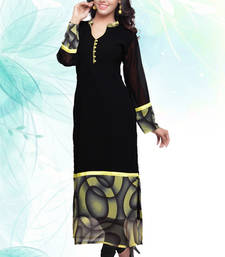 Black Faux Georgette printed kurti