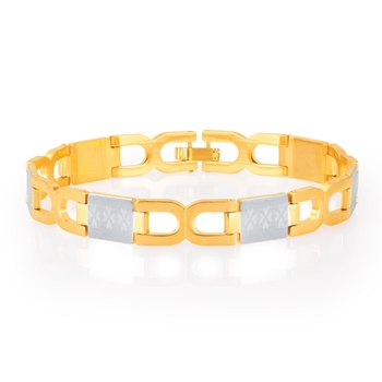 Briliant Gold and Rhodium Plated Bracelet For Men