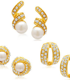 Buy Divine Gold Plated Alloy Set of 3 Stud Earrings Combo jewellery-combo online