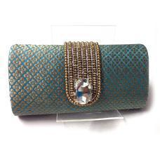 Turquoise Golden Swarovski Studded Clutch
