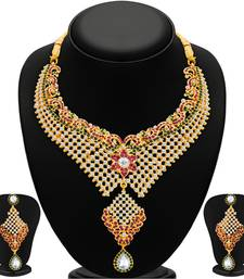 Buy Traditionally Gold Plated AD Necklace Set For Women necklace-set online