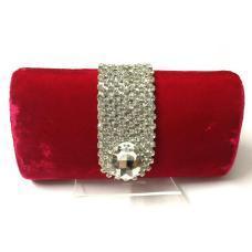 Red Velvet Swarovski Studded Clutch