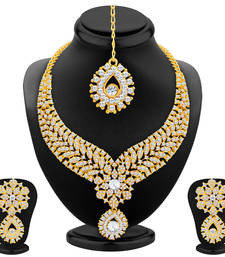 Buy Glimmery Gold Plated AD Necklace Set For Women necklace-set online
