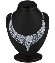 Buy Sleek Rhodium plated AD Stone Necklace Set necklace-set online
