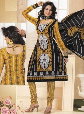 Cotton dress material elegant designer unstitched salwar suit d.no 1424