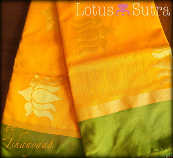 Mango and Lotus Chanderi saree